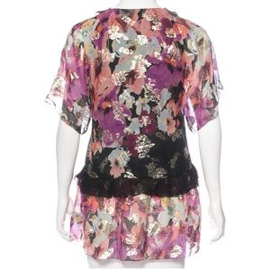 💕 MARCHESA VOYAGE silk floral print top with gold